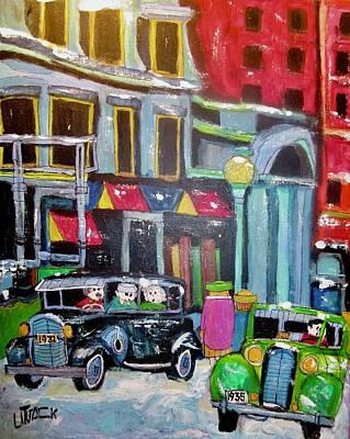 Painting - Vintage Peel Street Montreal 1935 by Michael Litvack