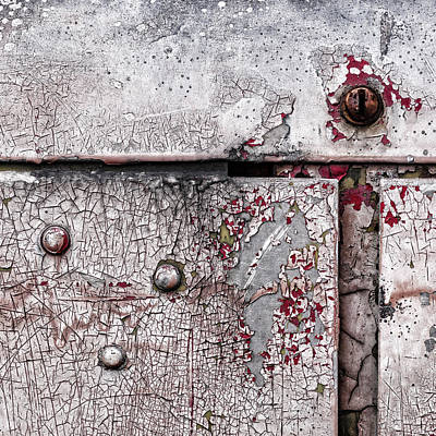 Rivets Photograph - Peeling Paint On Metal by Carol Leigh