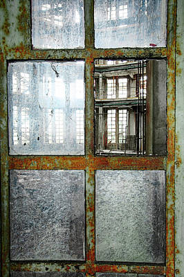 Art Print featuring the photograph Peeping Inside Factory Hall - Urban Decay by Dirk Ercken