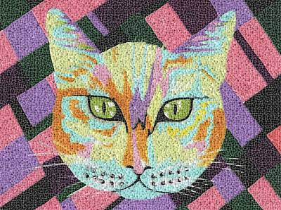 Mosaic Mixed Media - Peeping Putty Tat by Kathleen Sartoris
