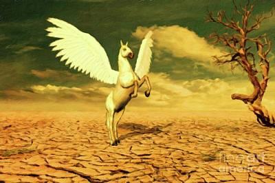Pegasus Painting - Pegasus By Mary Bassett by Mary Bassett