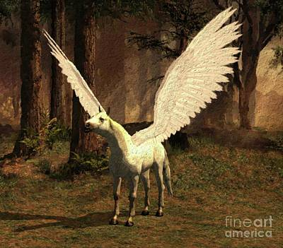 Fantasy Royalty-Free and Rights-Managed Images - Pegasus Calling by Mary Bassett