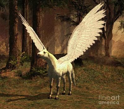 Pegasus Painting - Pegasus Calling by Mary Bassett