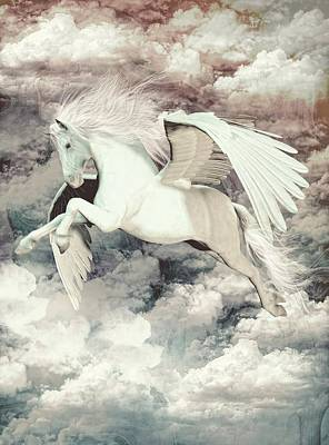 Pegasus Mixed Media - Pegasus Flight Olympus by Quim Abella