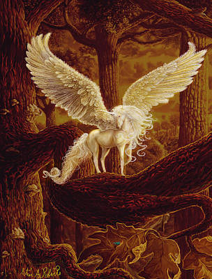 Unicorn Art Painting - Pegasus by Steve Roberts