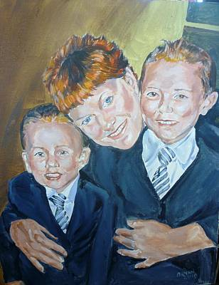 Painting - Peggy And Her Grandkids by Bryan Bustard