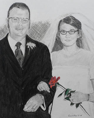 Painting - Peggy And John Taylor Wedding Portrait by Quwatha Valentine