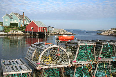 Peggys Cove And Lobster Traps Art Print by Thomas Marchessault