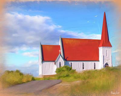 Digital Art - Peggy's Cove Church by Ken Morris