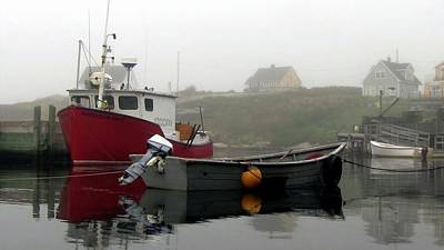 Photograph - Peggys Cove Fogged In by Jennifer Wheatley Wolf