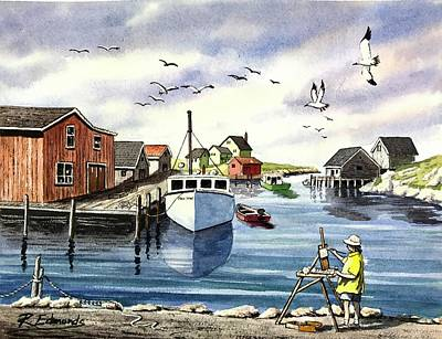 Nova Scotia Wall Art - Painting - Peggy's Cove Harbor by Raymond Edmonds