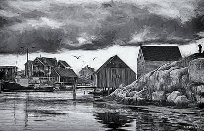Digital Art - Peggys Cove In Black And White by Ken Morris