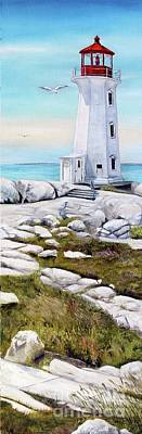 Painting - Peggy's Cove Lighthouse by Anna-maria Dickinson