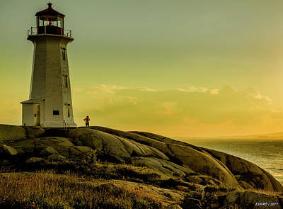 Photograph - Peggys Cove Lighthouse At Sunset  by Ken Morris