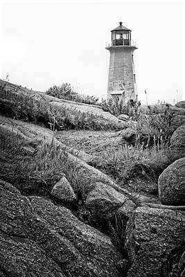 Photograph - Peggy's Cove Lighthouse - Bw by Nikolyn McDonald