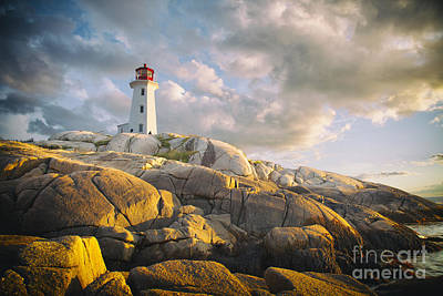 Photograph - Peggys  Cove Lighthouse In Nova Scotia Canada by Nick Jene