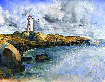 Painting - Peggy's Cove Lighthouse Landscape by John D Benson