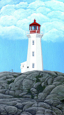 Peggy's Cove Lighthouse Painting Art Print by Frederic Kohli