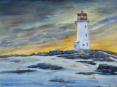 Nova Scotia Wall Art - Painting - Peggy's Cove Lighthouse by Raymond Edmonds