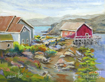 North Sea Painting - Peggy's Cove by Mohamed Hirji