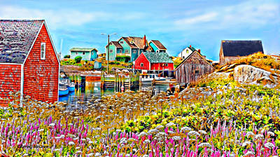 Peggy's Cove Wildflower Harbour Art Print by Kevin J McGraw