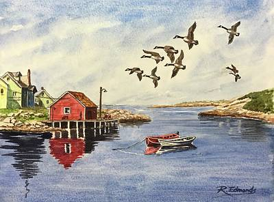 Nova Scotia Wall Art - Painting - Peggy's Cove With Geese by Raymond Edmonds