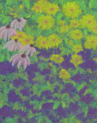 Pastel - Peggy's Garden In Late Summer by Anne Katzeff