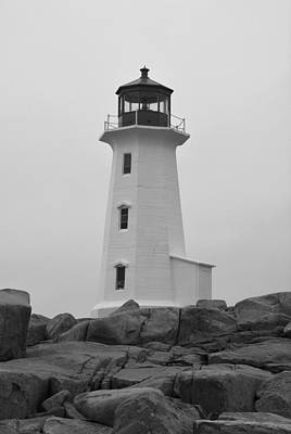 Photograph - Peggy's Point Lighthouse B N W by Richard Andrews