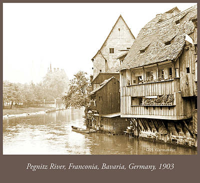 Photograph - Pegnitz Canal, Franconia, Germany, 1903, Vintage Photograph by A Gurmankin