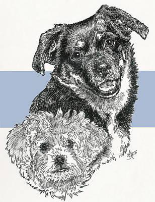Mixed Media - Peke-a-pin And Pup by Barbara Keith