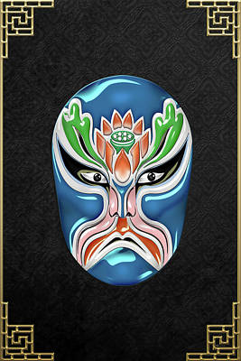 Digital Art - Peking Opera Face-paint Masks - Zhongli Chun by Serge Averbukh