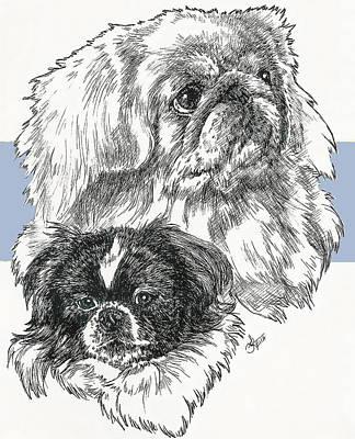 Mixed Media - Pekingese Dad And Junior by Barbara Keith