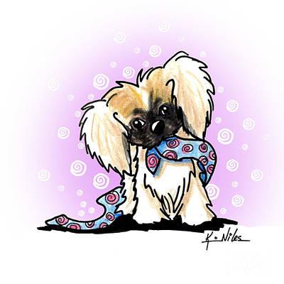 Mixed Media - Pekingese Puppy by Kim Niles