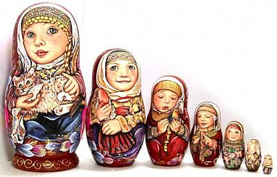 Matryoshka Sculpture - Pelagea With Kitten by Viktoriya Sirris