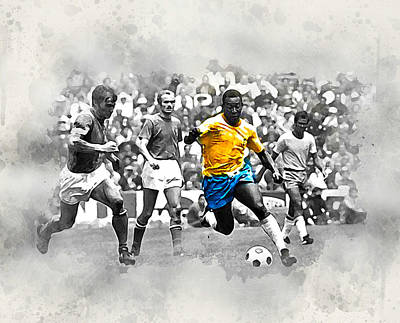 Pele Digital Art - Pele 1970 by Karl Knox