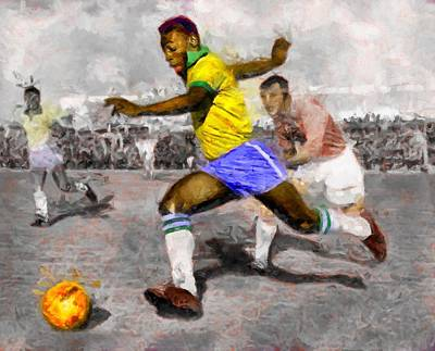 Digital Art - Pele Soccer King by Caito Junqueira