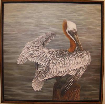 Pelican 3 Brown Art Print by Judy Merrell