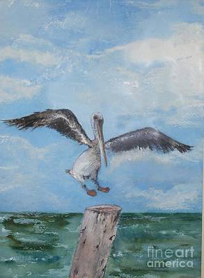 Art Print featuring the painting Pelican by Sibby S