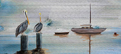 Seascape Painting - Pelican Bay On Wood by Ken Figurski