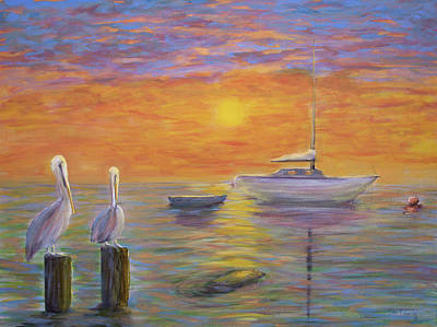 Watercolor Seascape Painting - Pelican Bay Sunset by Ken Figurski