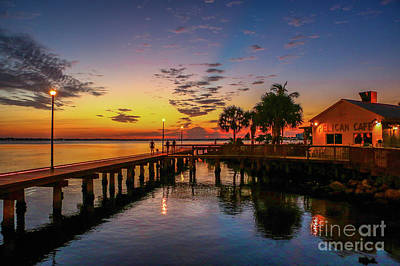 Pelican Cafe Sunrise Art Print by Tom Claud
