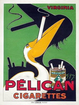 Royalty-Free and Rights-Managed Images - Pelican - Cigarettes - Vintage Smoking Advertising Poster by Studio Grafiikka