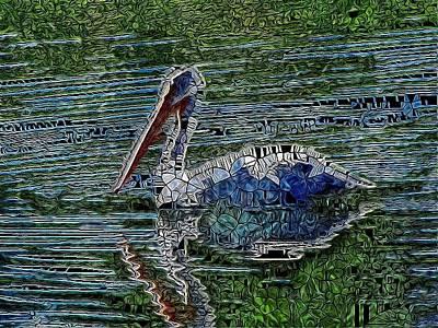 Teton Digital Art - Pelican Digital Stained Glass by Mo Barton