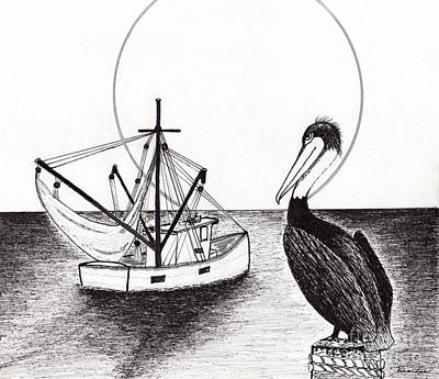 Drawing - Pelican Fishing Paradise C1 by Ricardos Creations