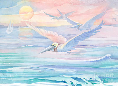 Sea Birds Painting - Pelican Flight by Paul Brent