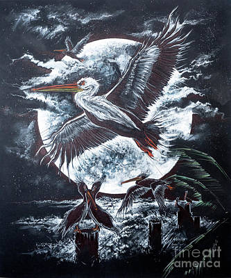 Drawing - Pelican Moon by Scott and Dixie Wiley