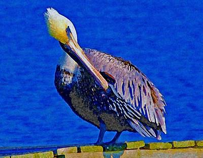 Painting - Pelican On Dock Looking Down by Michael Thomas