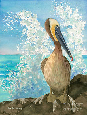 Laguna Beach Painting - Pelican On The Rocks - Watercolor by Hao Aiken