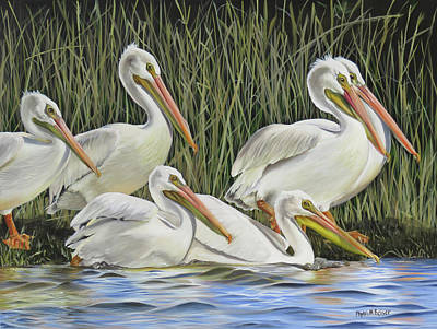 Waterfowl Painting - Pelican Parade by Phyllis Beiser