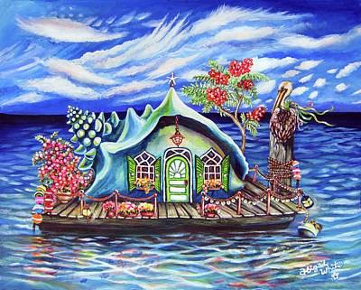 Key West Painting - Pelican Perch Conch House by Abigail White